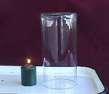 Candle and glass jar in metal tray